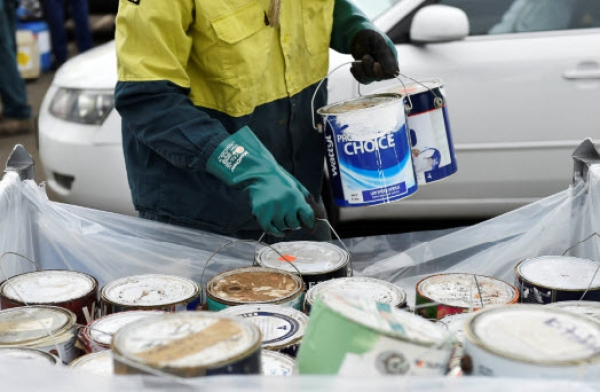 Paint being collected at a community recycling centre in Western Sydney