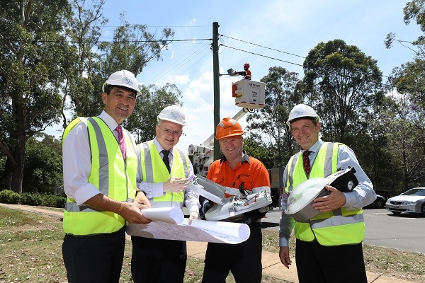 Left to right: Dr Geoff Lee, Member for Parramatta; Lord Mayor Andrew Wilson, City of Parramatta; Peter Wilson, Endeavour Energy; and WSROC President Cr Stephen Bali at installation of new LED street light in Parramatta.