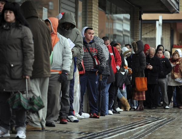 Image: Line waits outside unemployment office.