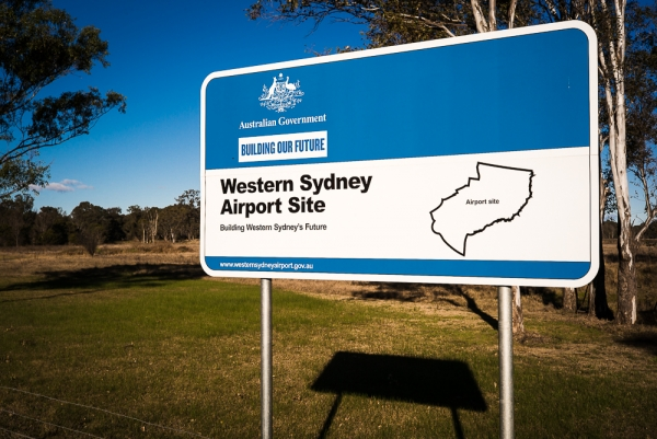 Australian Government signage for Western Sydney Airport site at Badgerys Creek.