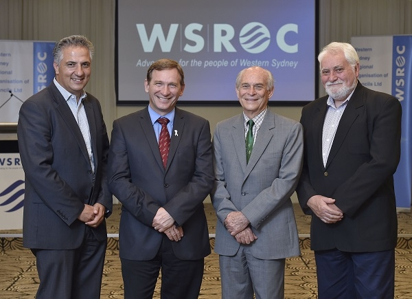 WSROC Executive Committee [Left to right]: Senior Vice President, Cr Frank Carbone (Fairfield); President, Cr Stephen Bali (Blacktown); Treasurer Cr George Campbell (Cumberland); Junior Vice President, Cr Barry Calvert (Hawkesbury).